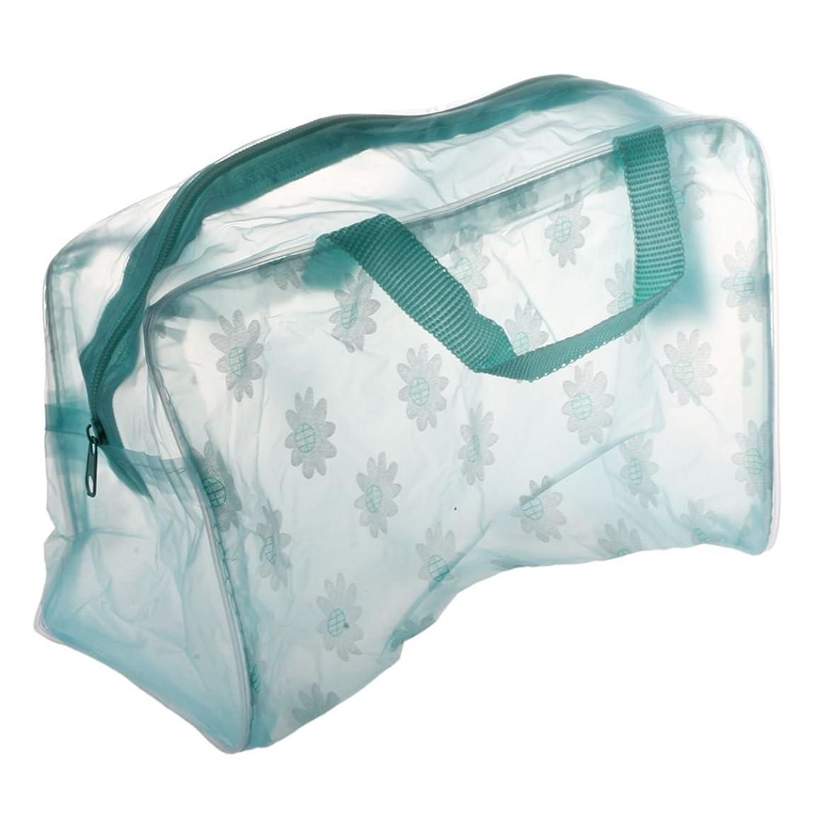 砲撃征服するオレンジSODIAL(R)フローラル プリント 透明 防水 化粧品袋 トイレタリー お風呂ポーチ グリーン