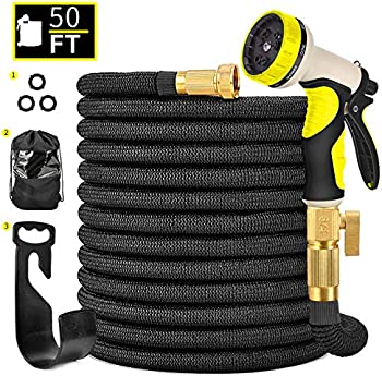 Hermard Expandable 50FT Flexible Gardening Hose with Brass Connectors