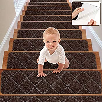 RIOLAND Stair Treads Carpet Non-Slip Indoor 15 PCS Wood Stair Treads Rugs Modern Stair Runners for Kids Dogs 8  X 30  Brown