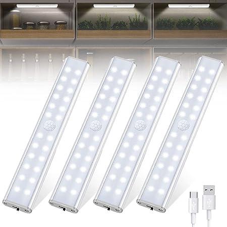 Tanbaby Lampe de Placard 24 LED, Sans Fil, Rechargeable par USB, Aimanté, Détecteur de Mouvement, 4 Modes d'Éclairage, Portable. Lumière de Placard, Baladeuse de Secours, Veilleuse Enfant (Blanc)