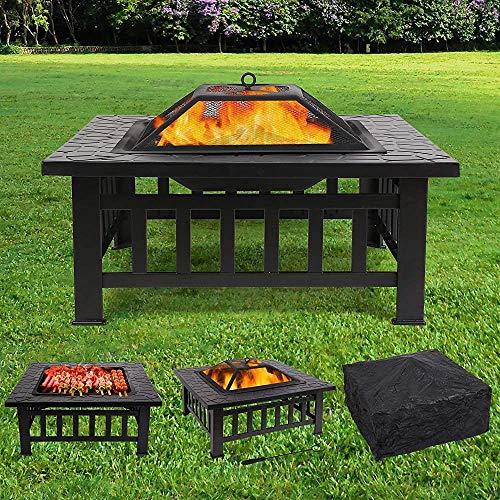 De manera simple estufa de fuego al aire libre cuadrados terraza a cielo jardín, parque infantil fuego de la barbacoa, estufa cuadrada pesada con encimeras impermeables,Fire pit and barbecue