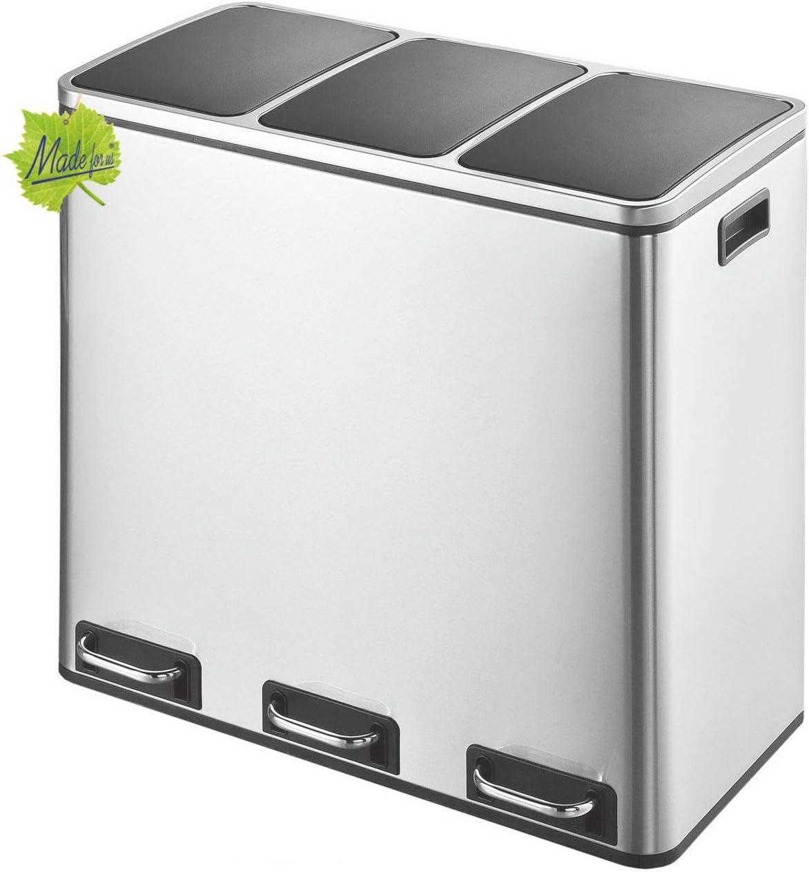 Made for us® 54 L Edelstahl Tret-Abfalleimer 3×18 L Mülleimer 3 Fächer für Küchen, 3-Fach Mülltrennung m. 3 Inneneimern, 3er Müll-Trennsystem 54…