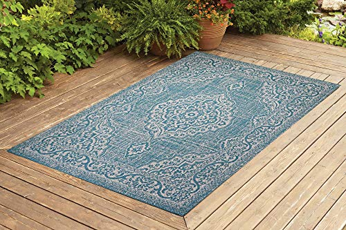 Benissimo Indoor Outdoor Rug Palace Collection, Medallion Pattern, Sisal Woven and Jute Backing Area Rugs for Living Room, Bedroom, Kitchen, Entryway, Hallway, Patio, Farmhouse Decor 8x10, Turquoise