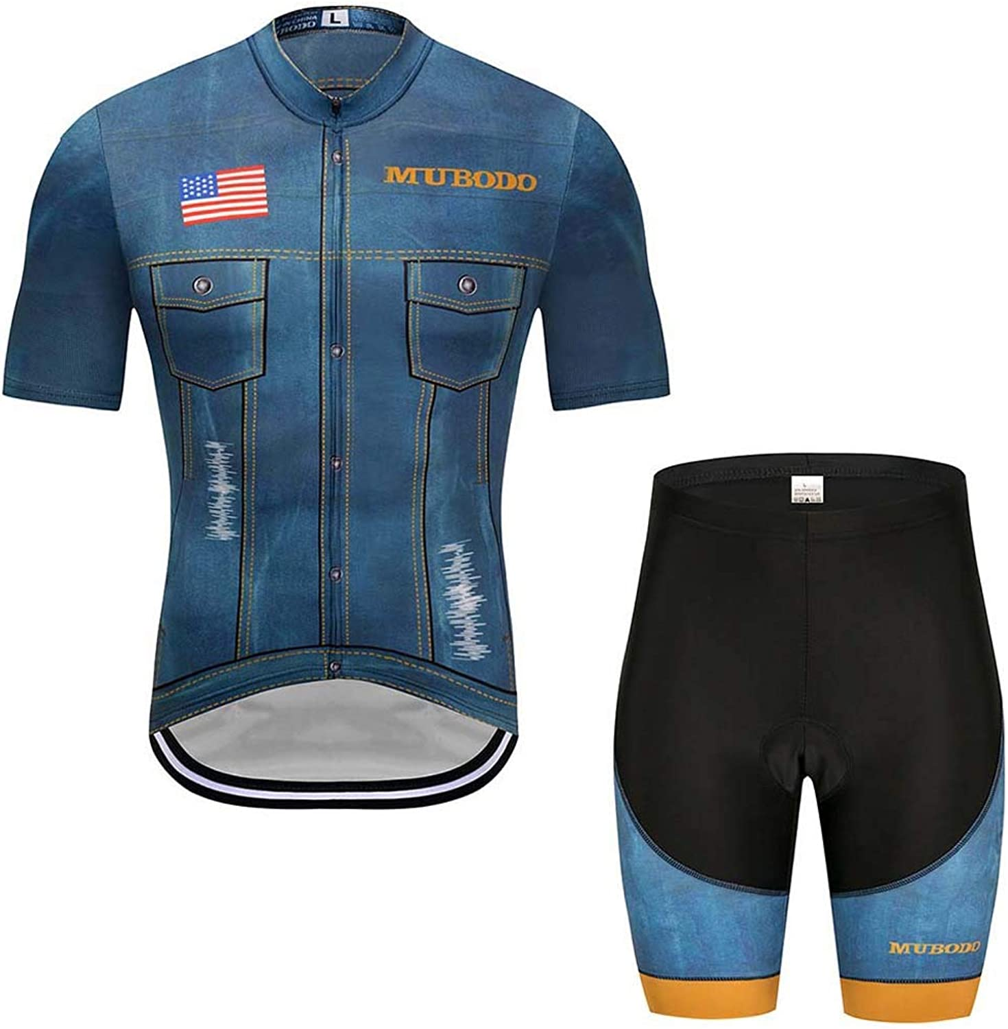 Cycling Shorts, Cycling Jersey Men Waterproof Soft Fitness Clothes QuickDry for Outdoor Sports MTB Road Bicycle,L
