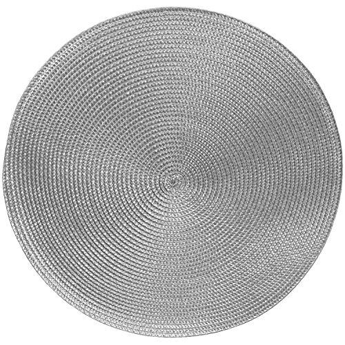 Tischsets Platzsets MARRAKESCH RUND im 4er-Set, Ø 38 cm, abwischbar, grau