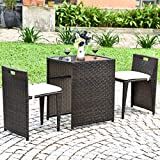Tangkula 3 PCS Outdoor Rattan Dining Set, Patio Conversation Set Bistro Set with Tempered Glass Table, Patio Wicker Chair Furniture Set with Cushions for Courtyard, Balcony, Garden (Brown)