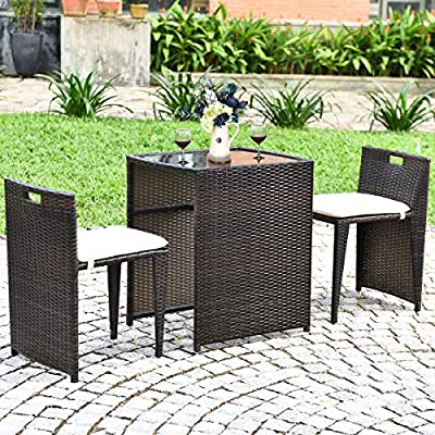Tangkula 3 PCS Outdoor Rattan Dining Set, Patio Conversation Set Bistro Set with Tempered Glass Table, Patio Wicker… - Space-saving Design: The 2 chairs are designed with different seat heights which can be stored perfectly under the table when not in use for space-saving and easy storage. Our bistro set with the compact size will keep your backyard free of clutter and this smart design is very suitable for indoor environment. Sturdy & Durable Construction: Both chairs and table are made of sturdy steel frame with large load capacity. The premium PE rattan is weather resistant and durable, providing our bistro set longer usage life. Besides, the thickened chair legs and non-slip foot pads enhance the stability of the chairs. The smooth tabletop is an ideal addition for coffee, drinks, snacks and magazines. Ergonomic and Smart Design: Due to the ergonomic design, our rattan chair will offer you health-promoting and comfortable seating posture. Soft cushion and backrest can relieve fatigue of your body. The modern design with multifunctional using ways adds functionality to your garden, patio and balcony. - patio-furniture, dining-sets-patio-funiture, patio - 61yz8FWwSGL. SS400  -