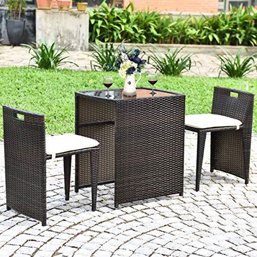 Tangkula 3 PCS Outdoor Rattan Dining Set, Patio Conversation Set Bistro Set...