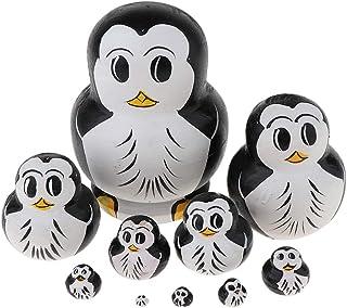 Flameer Lovely Penguin Russian Nesting Doll Babushka Matryoshka Stacking Dolls Set 10 Pieces Xmas Festival Gift Christmas ...