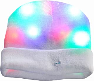 Light Up Hat, Aomeiqi LED Beanie Hat, with 3 Mode Colorful Lights and 1 x Extra Battery, Unisex Knitted Light Hat for Party Sports Walking Jogging Bicycling, White