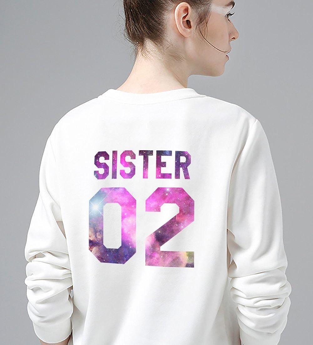 Best Friends Pull Coton Pullover à Manches Longues Hoodie Imprimé Sister 01 Sister 02 Blanc