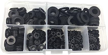250pcs Rubber Black Flat Ring Washer Gasket Assorted Kit M2 M2.5 M3 M4 M5 M6 M8