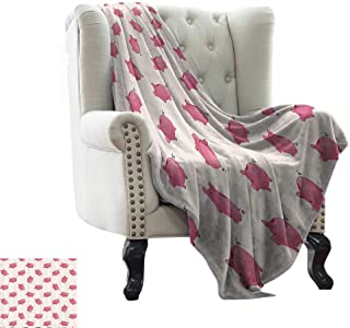 RenteriaDecor Pig Decor Collection,Best Blankets Piggy Bank Pattern Money Wealth Luck Symbols Fun Design Artwork 50