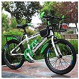 Bicicleta De Montaña para Niños, 22 Pulgadas, Marco De Acero De Alto Carbono Engrosado con Marco De Asiento Trasero + Canasta, Botella De Agua Y Bolsa,Verde
