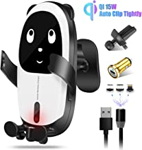 Gokey Wireless QI Car Charger Mount 15W Fast Charging Auto-Clamping Infrared Sensing Windshield Dashboard Air Vent Phone Holder Compatible with iPhone 11/11Pro/Xs MAX/XR/X/8/7/6 Samsung S10/S9