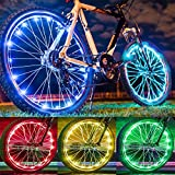 Solhice 2 Tire Pack Color Changing Bike Lights for Wheels, 7 Colors in 1 Waterproof Bicycle LED Lights for Kids Adults Night Riding, Battery Powered (Not Included)
