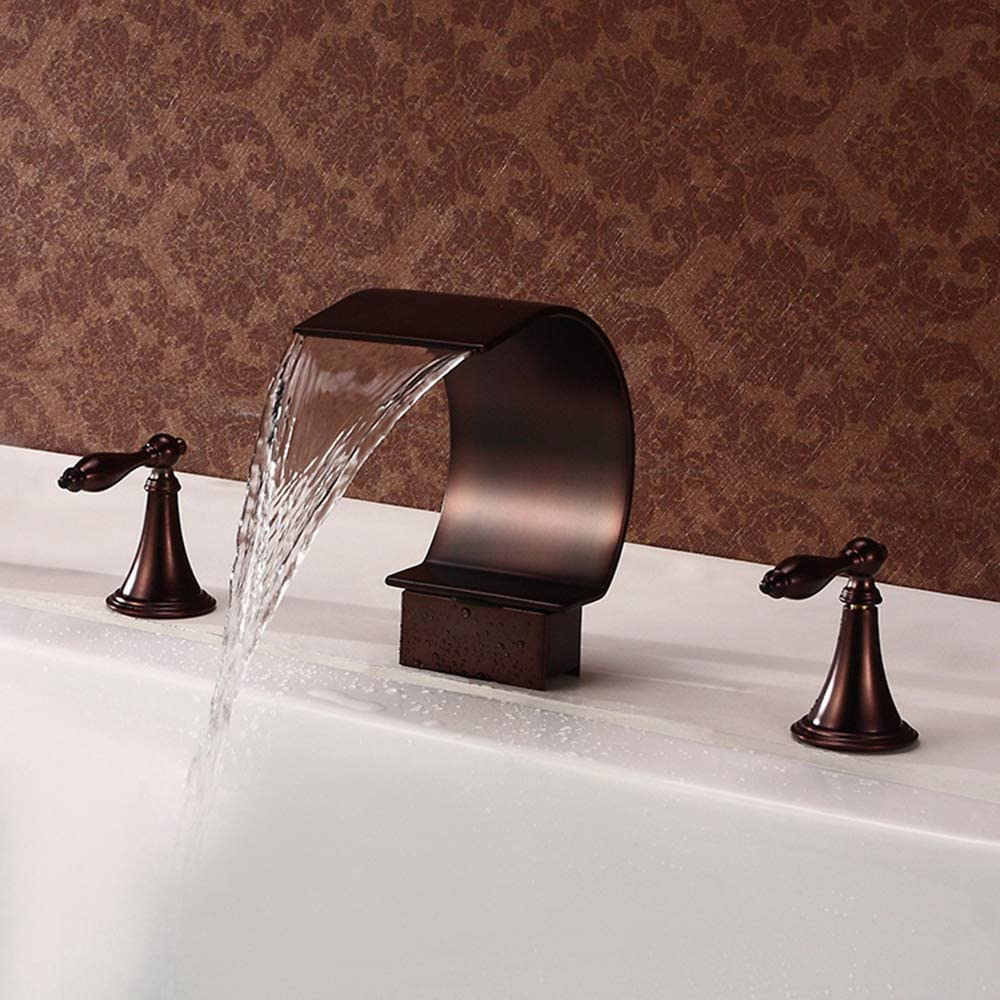 Sprinkle Deck Mounted Tub Faucet Oil Rubbed Bronze Bathroom Faucet 3 Hole Waterfall Faucet Bathroom