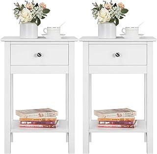 Yaheetech Table d'Appoint en Bois Bout de Canapé Blanc Table de Chevet avec 1 tiroir et 1 étagère de Rangement 40x30x60 cm...
