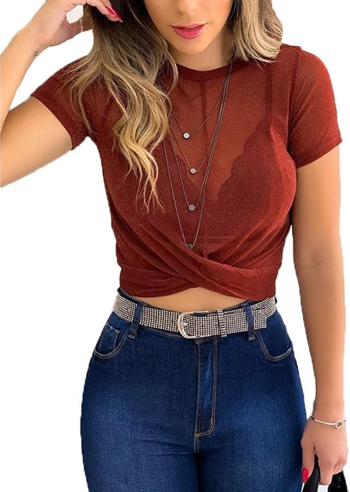 HSHUIJP Sexy Tops for Women Summer Fashion See Through Tops Women Sexy Casual Short Sleeve Crew Neck Slim Skinny Club Crop Tops Streetwear Women, s Vests (Color : Red, Size : XL)