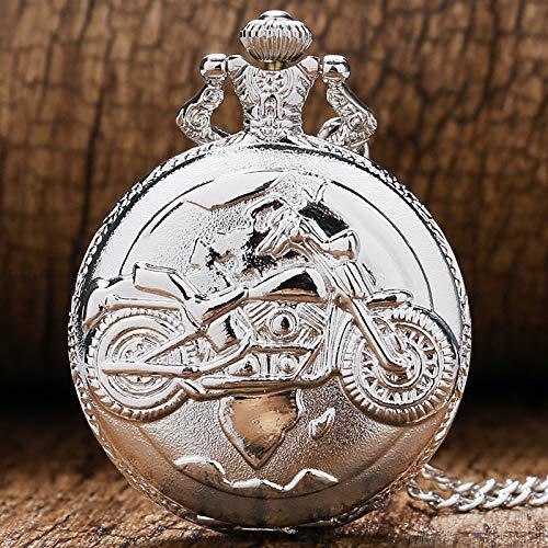 XVCHQIN Retro Xmas Gift Fashion Silver Quartz Pocket Watch Motorcycle Autocycle Women Men Necklace Pendant Chain,Silver