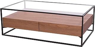 Damiware Baily Design Mesa auxiliar/mesa de centro/mesa de salón/mesa de sofá de metal (negro) y cristal con cajón de made...