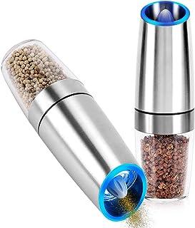 Gravity Salt and Pepper Grinder, Stainless Steel Electric Pepper Mill Automatic Salt Grinder Adjustable Coarseness Portabl...
