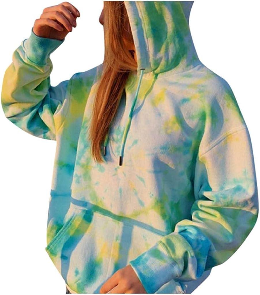 VISLINDU Hoodies for Women New sales Women's Tie-Dye Hooded Houston Mall Long S Sleeve