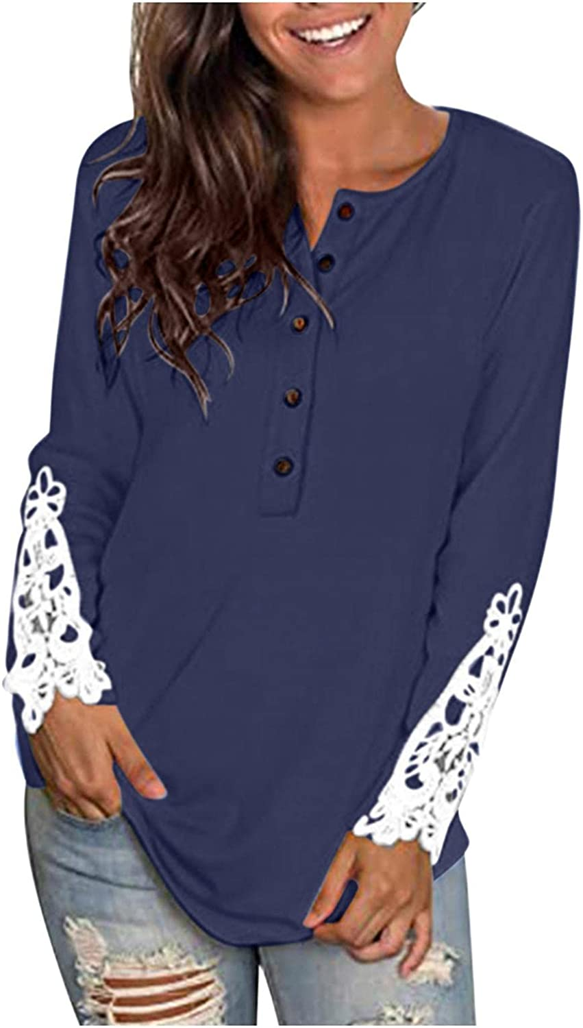 Women Long Sleeve V Neck Button Up Solid Tops Blouses Trendy Slim Fit Lace Sleeves Casual Henley Shirts Tunic