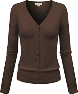 Womens Basic Casual Light V Neck Button Down Cardigan Sweater (S-3XL)
