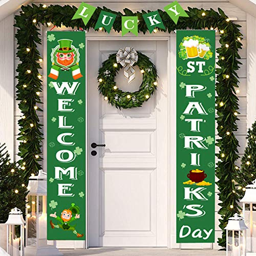 St Patricks Day Porch Banner, 3 in One St Patricks Day Hanging Porch Sign,St. Patrick's Day Hanging Decorations for Home Outdoor Decor
