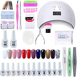 Elite99 Lámpara UV LED para Uñas 24w 12 Colores Kit de Esmaltes Semipermanentes en Gel UV LED Base y Top Coat Removedor...