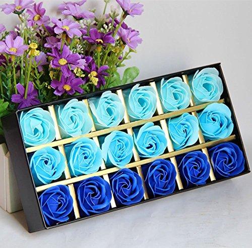 Cisixin 18 Stücke Rosen-Duftseifen in Geschenk-Box (Blau)