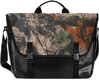 ALARGE Laptop-Umhängetasche, Vintage, Ahorn-Camouflage-Wald, Segeltuch, Aktentasche, Reisetasche, Henkeltasche mit Schultergurt, 38,1 cm