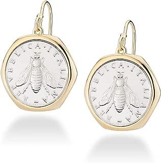 MiaBella 18K Gold Over Sterling Silver Italian Genuine 2-Lira Bee Coin Retro Dangle Drop Earrings for Women 925 Made in Italy