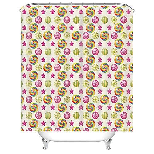 Aeici Duschvorhang Vintage Retro Bad Vorhang Fenster,Lutscher Süßigkeit Duschvorhänge 165x200 cm Vorhang für Dusche Rosa Gelb