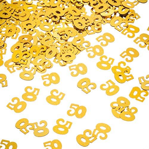 Willbond Confeti de 50a Cumpleaños Dorado, Confeti de Número 50, Confeti de 50a Fiesta, 2 Bolsas (1400 Piezas)