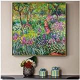 NIEMENGZHEN Cuadro en Lienzo Jardín nórdico Claude Monet Flores Pintura en Lienzo Carteles e Impresiones Cuadros Cuadros para la Pared Imágenes de la Sala de Estar 19.6'x19.6 (50x50cm) Sin Marco