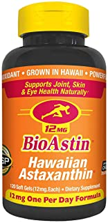 BioAstin Astaxanthin 12mg, 120ct - Supports Recovery from Exercise + Joint, Skin, Eye Health Naturally - 100% Hawaiian Sou...