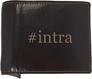 #intra - Soft Hashtag Cowhide Genuine Engraved Bifold Leather Wallet
