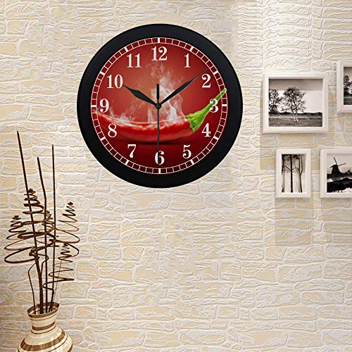 Hot Chili Pepper in Smoke Modern Wall Clock Silent Non Ticking Quartz Frame Large Number Wall Clock Decorative Indoor/Kitchen, Black