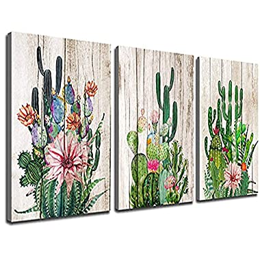 Canvas Prints Wall Decor Art Cactus Desert Plant with Spiny Flower Watercolor Hand Painted on Wooden Board Modern Nordic Style Painting Pictures Homes Decorations Office 12  x 16  3 Pieces / Set