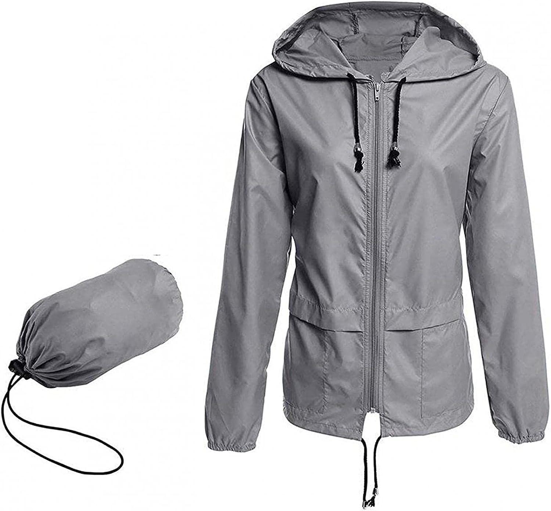MELOZ Women's Waterproof Rain Coat Jacket Lightweight Hooded Outdoor Windbreaker