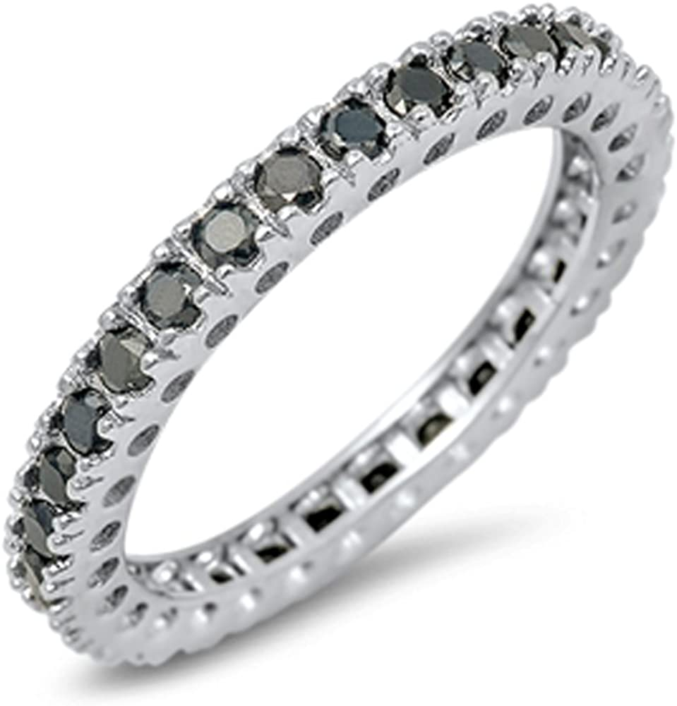 CHOOSE YOUR COLOR Sterling Genuine Free Shipping Ring Eternity Max 58% OFF Silver