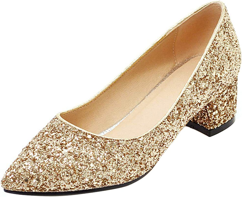 AicciAizzi Women Fashion Glitter Pumps Block Heel