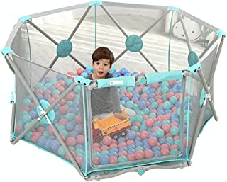 Portable Baby Fence heptagon Baby Playpen with Play Pen Puzzle Play Mats  Strong and Durable Play yard  Machine washable Disassembled for Children months 6 Years Old