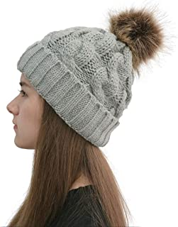 Women Casual Solid Stitching Outdoor Plush Ball Hats Crochet Knit Beanie Cap Winter Hats Comfortable Gray