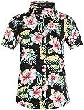SSLR Damen Bluse Kurzarm Hawaii Hemd Baumwolle Freizeit Blumen 3D Gedruckt Lose Aloha Shirts...