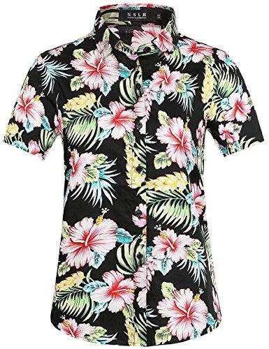 SSLR Damen Bluse Kurzarm Hawaii Hemd Baumwolle Freizeit Blumen 3D Gedruckt Lose Aloha Shirts (Small, Rot Hibiscus)