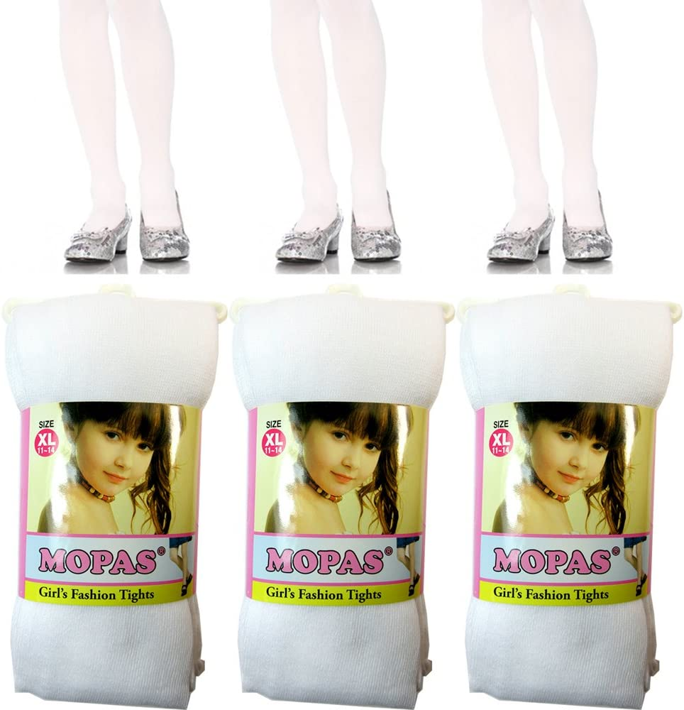 3 Pair Girls Tights Footed Dance Stockings Pantyhose Ballet XL Size 11-14 White