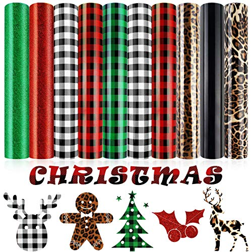 "10 Sheets Christmas Heat Transfer Vinyl, Buffalo Plaid PU Glitter Heat Transfer Vinyl, Assorted HTV Iron on Vinyl Patches for Clothes Bag Hat (Red, Green, Black-White, Leopard, 12"" x 10"")"